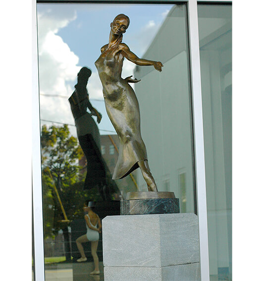 Nocturne a bronze sculpture by Andrew DeVries,installed at the Pittsburgh Ballet Theatre studios