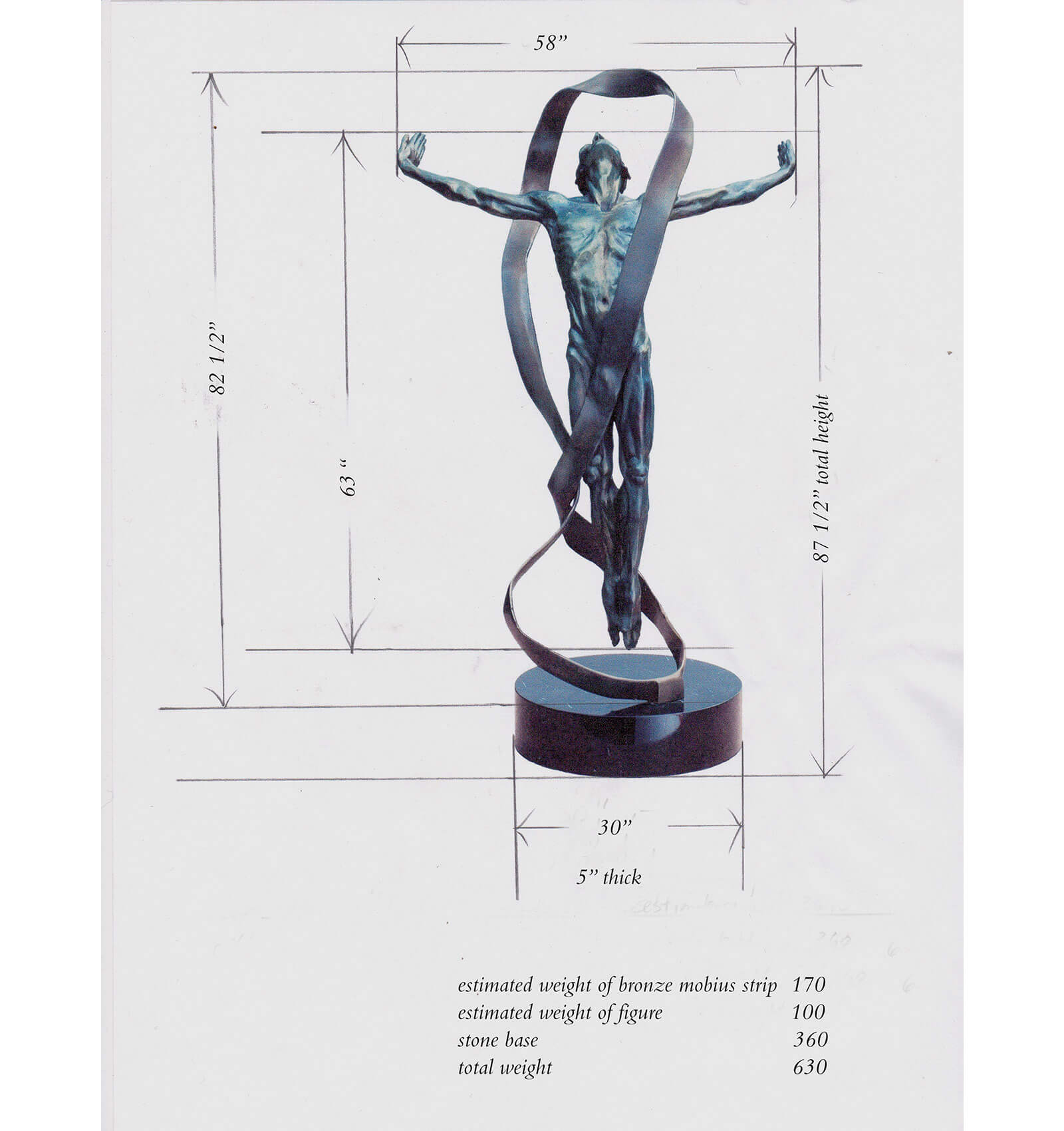 Dimensions of the new commission of Echoes a figurative dance bronze sculpture of a male dancer suspended by a Mobius strip copyright 2014 by Andrew DeVries