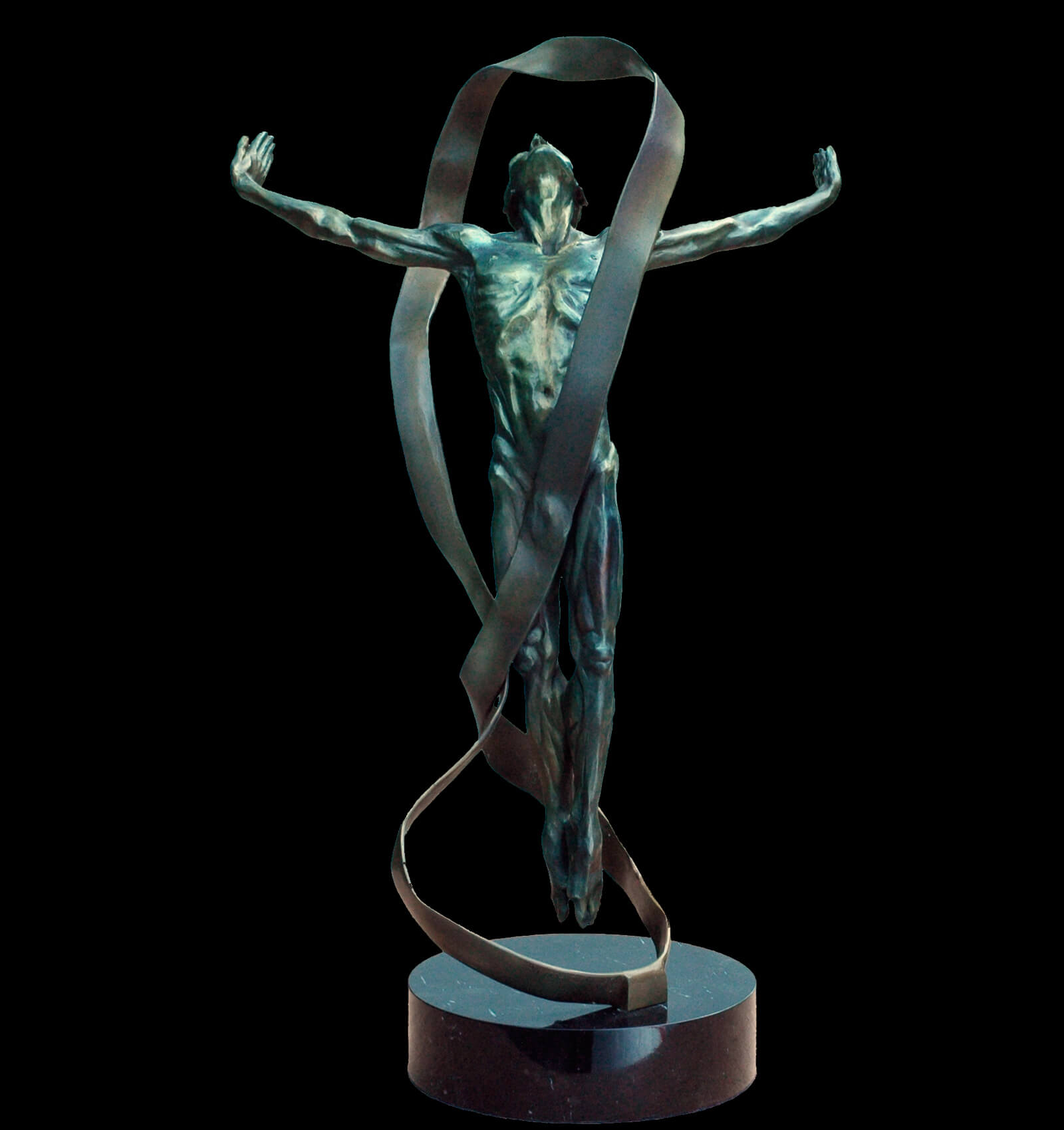 Echoes a figurative dance bronze sculpture of a male dancer suspended by a Mobius strip copyright 2014 by Andrew DeVries