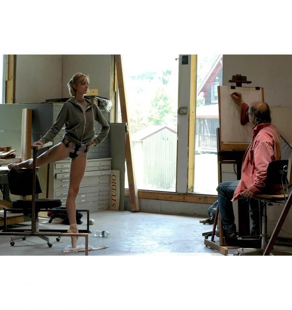Pittsburgh Ballet principle dancer Hannah Carter models for drawings with sculptor Andrew DeVries