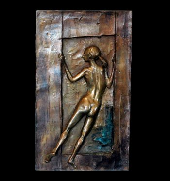 Cabo da Roca a bronze wall relief bronze of a young female nude created and cast by Andrew DeVries