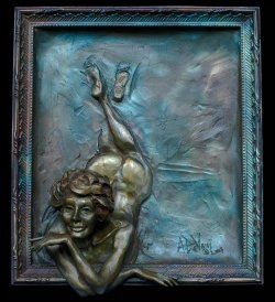 Hello There bronze wall relief sculpture of a female nude that looks out of a picture frame. Created and cast by Andrew DeVries. Copyright 2017, Edition of 12