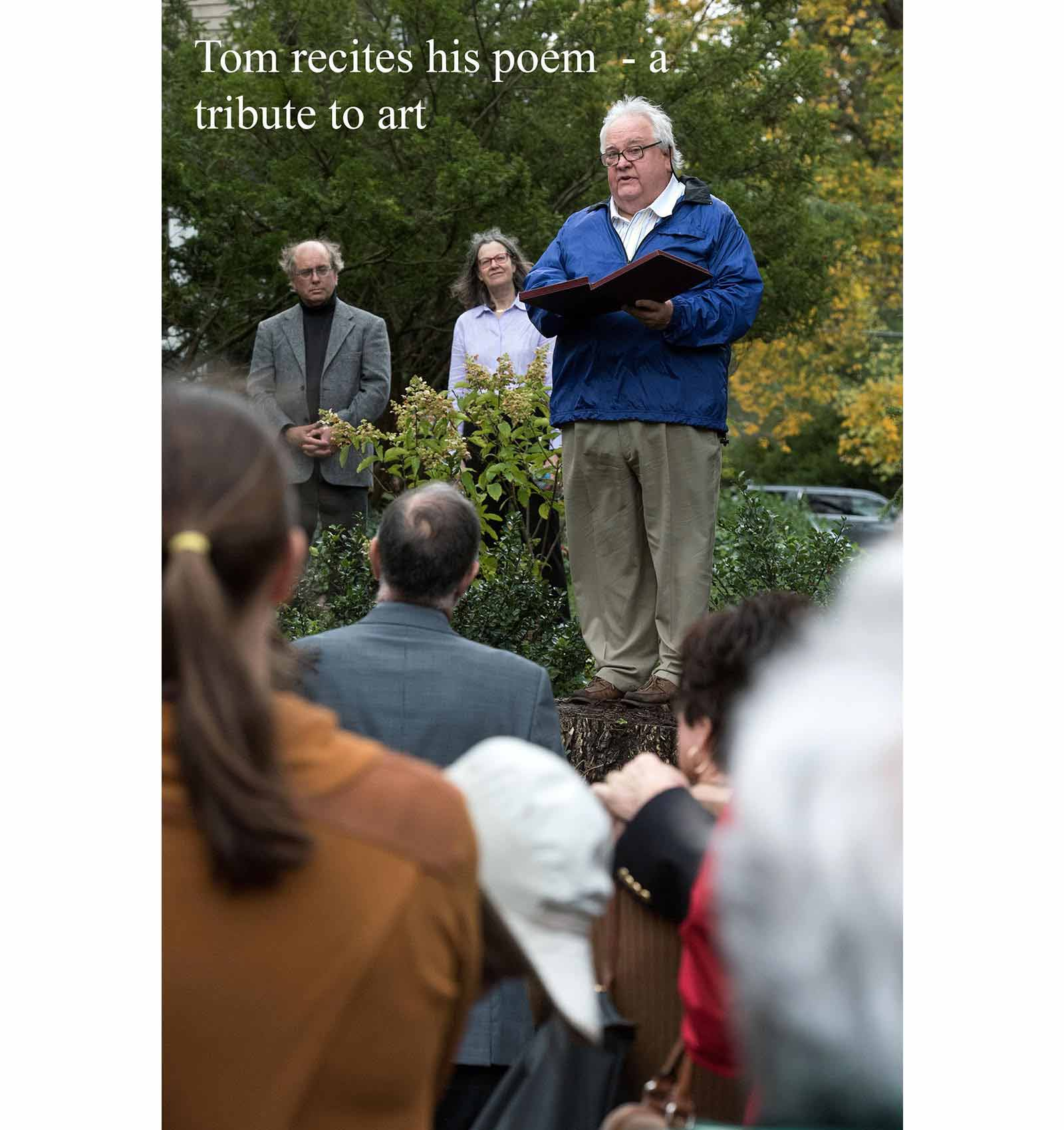 Tom Blaske dedicates his poem to the sculpture Other Side of Eden at the unveiling of the sculpture.