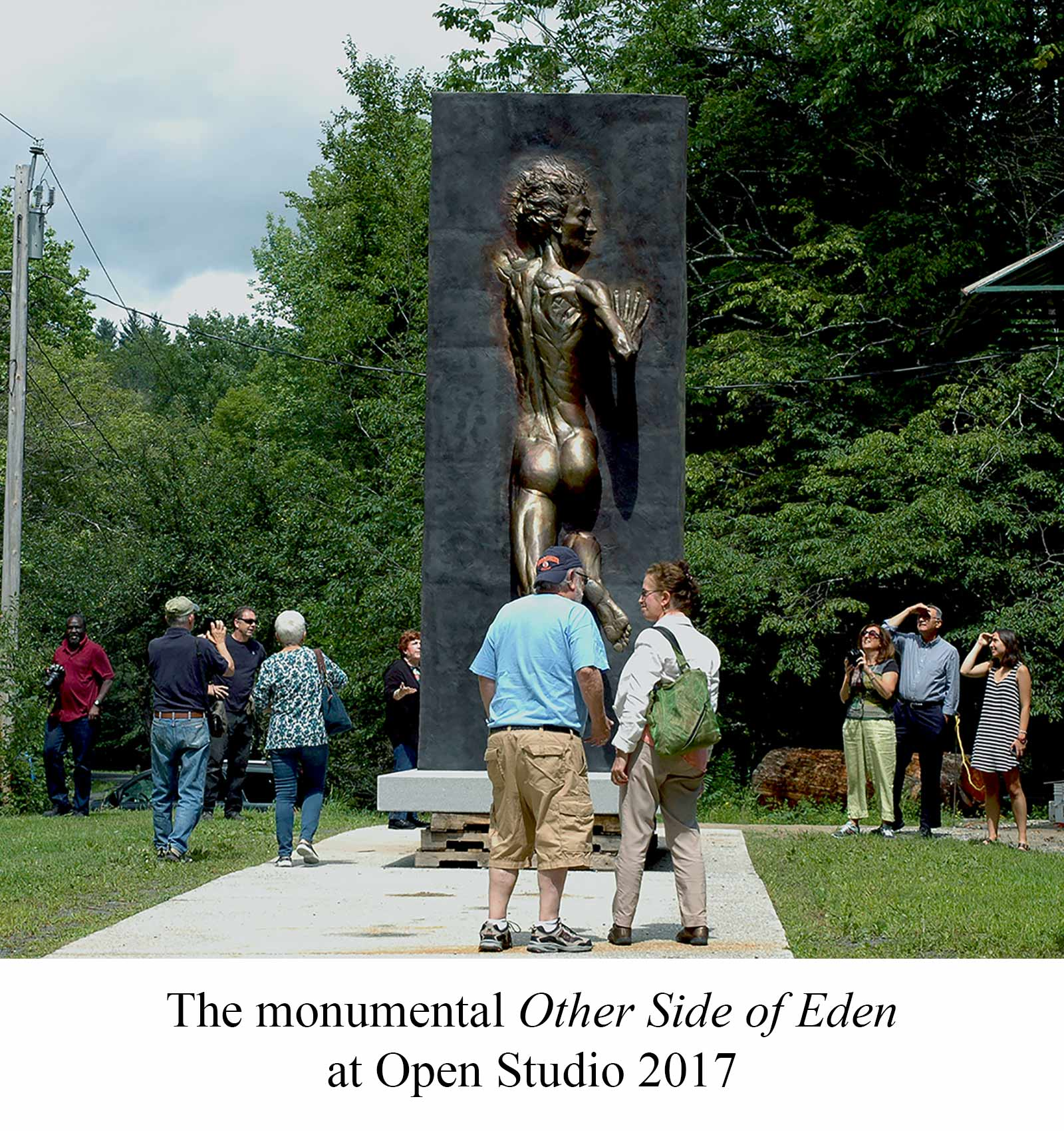 The Other Side of Eden a monumental fifteen foot bronze sculpture created, cast and finished by Andrew DeVries. Copyright 2016.