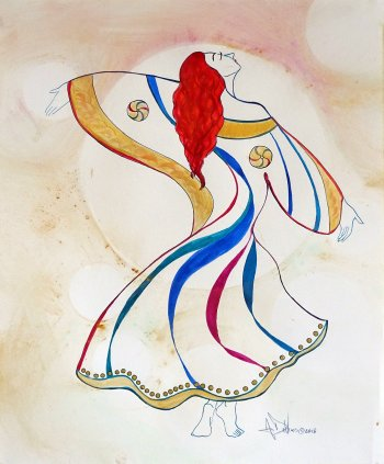 The Mystic is an ink and watercolor painting of a dancer by Andrew DeVries. The dancer spins in her brightly colored costume. She seems to be transcending, in touch with the divine. Copyright 2018. It is currently unframed at the our Middlefield studio.
