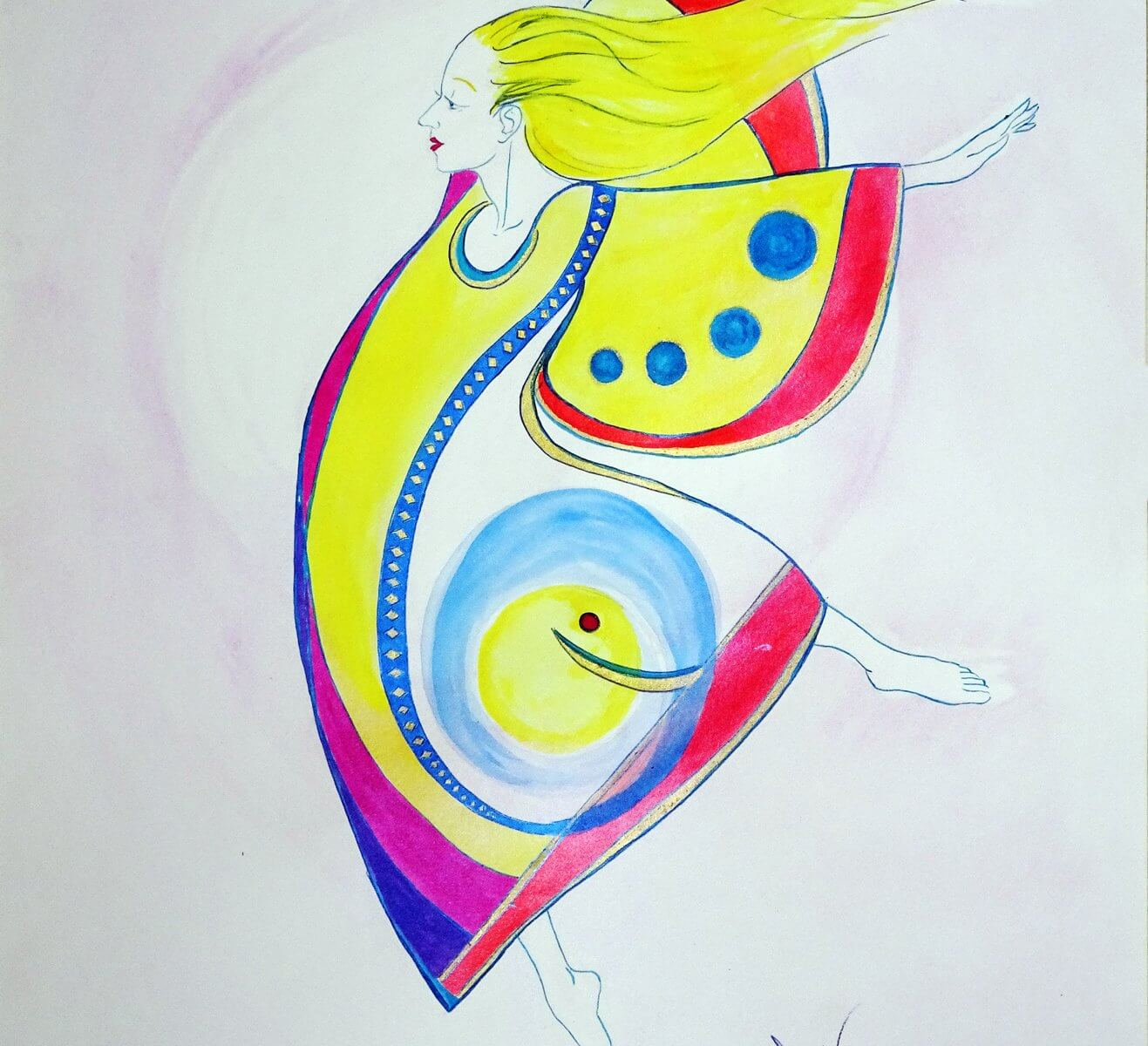 Wonder is an ink and watercolor painting of a dancer by Andrew DeVries. The dancer with her flowing hair seems to be effortlessly flying in her brilliant costume. Copyright 2018. It is currently unframed at the our Middlefield studio.