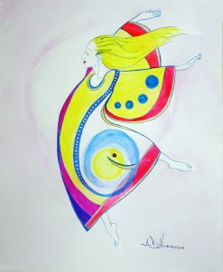 Wonder is an ink and watercolor painting of a dancer by Andrew DeVries. The dancer with her flowing hair seems to be effortlessly flying in her brilliant costume. Copyright 2018. It is currently unframed and in the gallery.