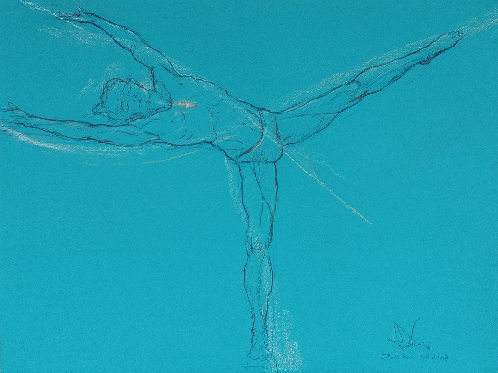 Heart of Gold, an original pastel painting of a dancer by Andrew DeVries, from a sketch done at the Julliard School in a class taught by Milton Myers. Copyright 2011