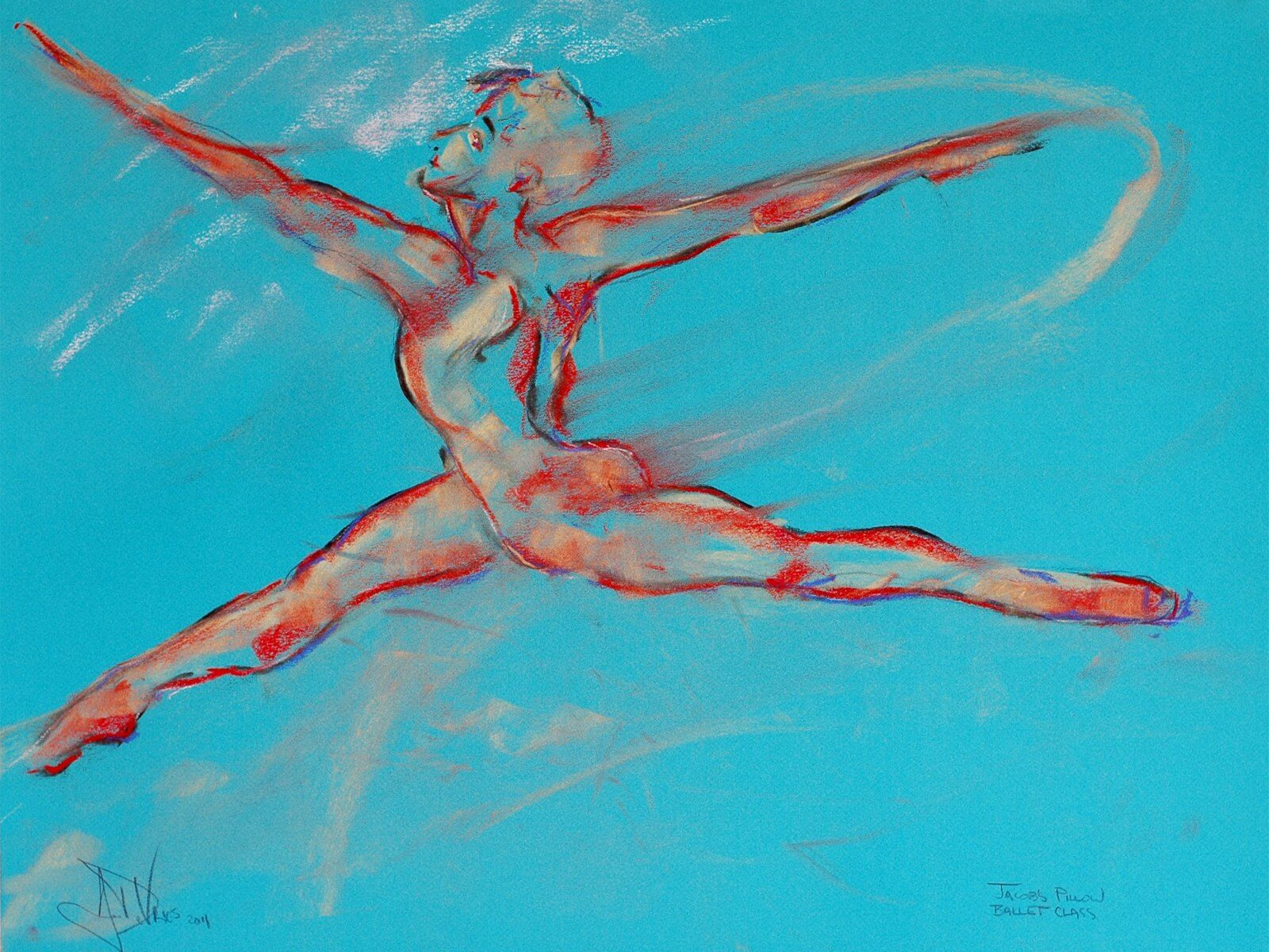 Jacob's Pillow, ballet class is an original pastel painting of a dancerby Andrew DeVries, done from a sketch. It is on acid free paper. Copyright 2011