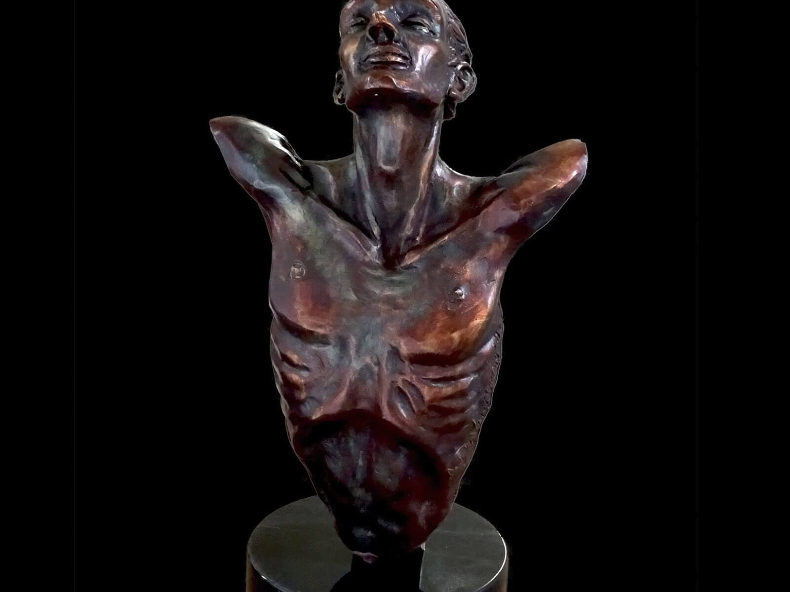Echoes bust is a bronze sculpture created by Andrew DeVries copyright 2019.