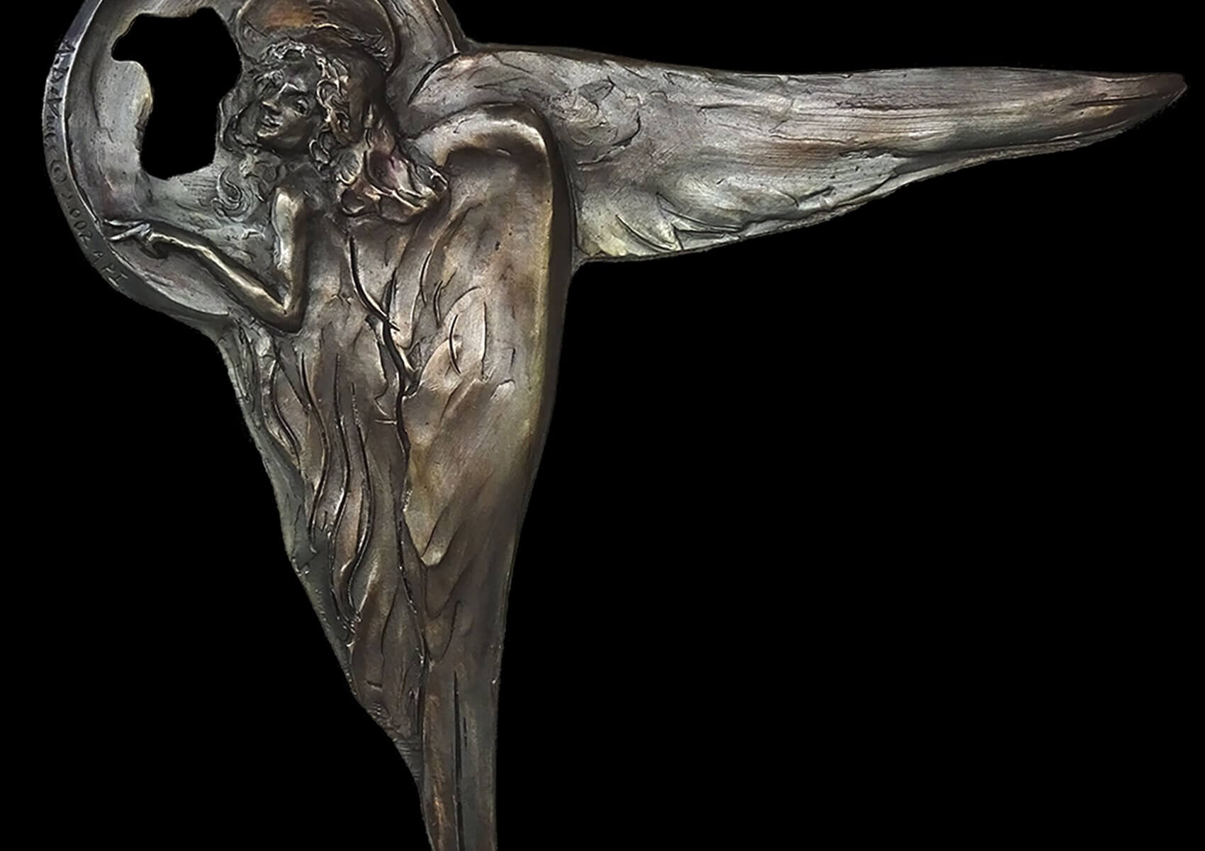 Firenze Angel, a bronze wall relief sculpture by Andrew DeVries copyright 2003.