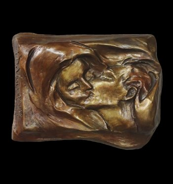 First Kiss a bronze wall relief copyright 2019 by sculptor Andrew DeVries