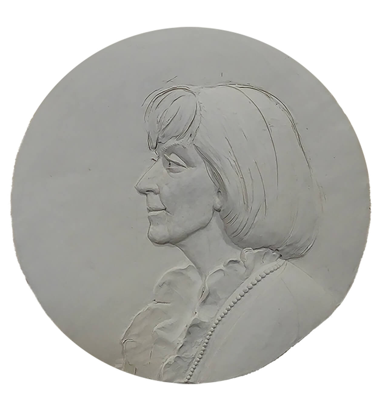 Clay roundel portrait of Catherine A. Doherty
