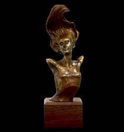 Rhapsody bust, a small bronze sculpture by Andrew DeVries, copyright 2007.