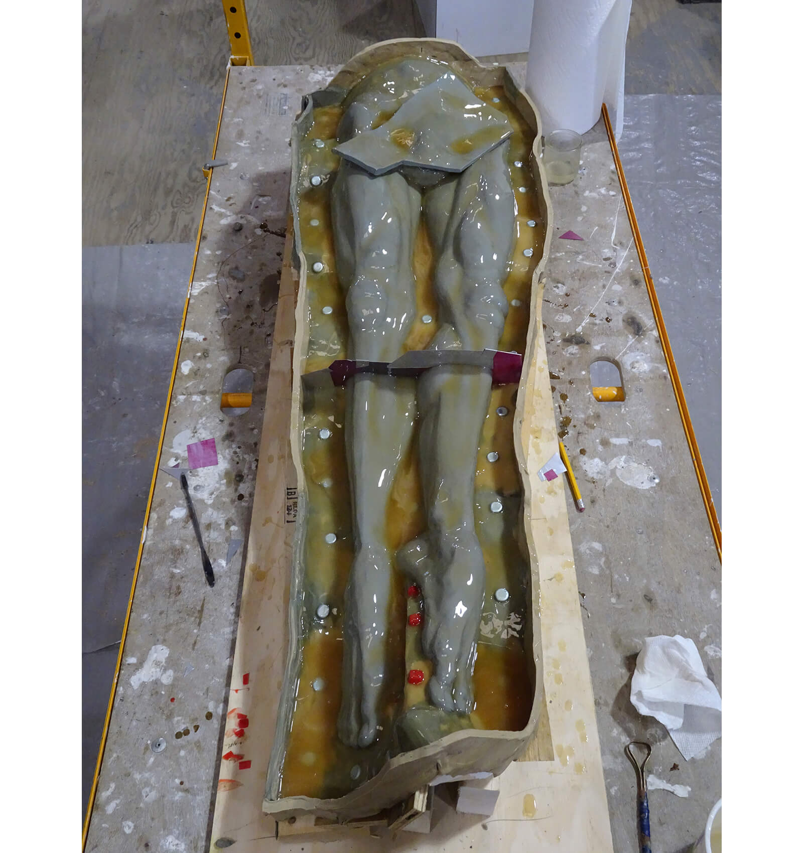 Lower torso of the enlarged Echoes sculpture in rubber mold