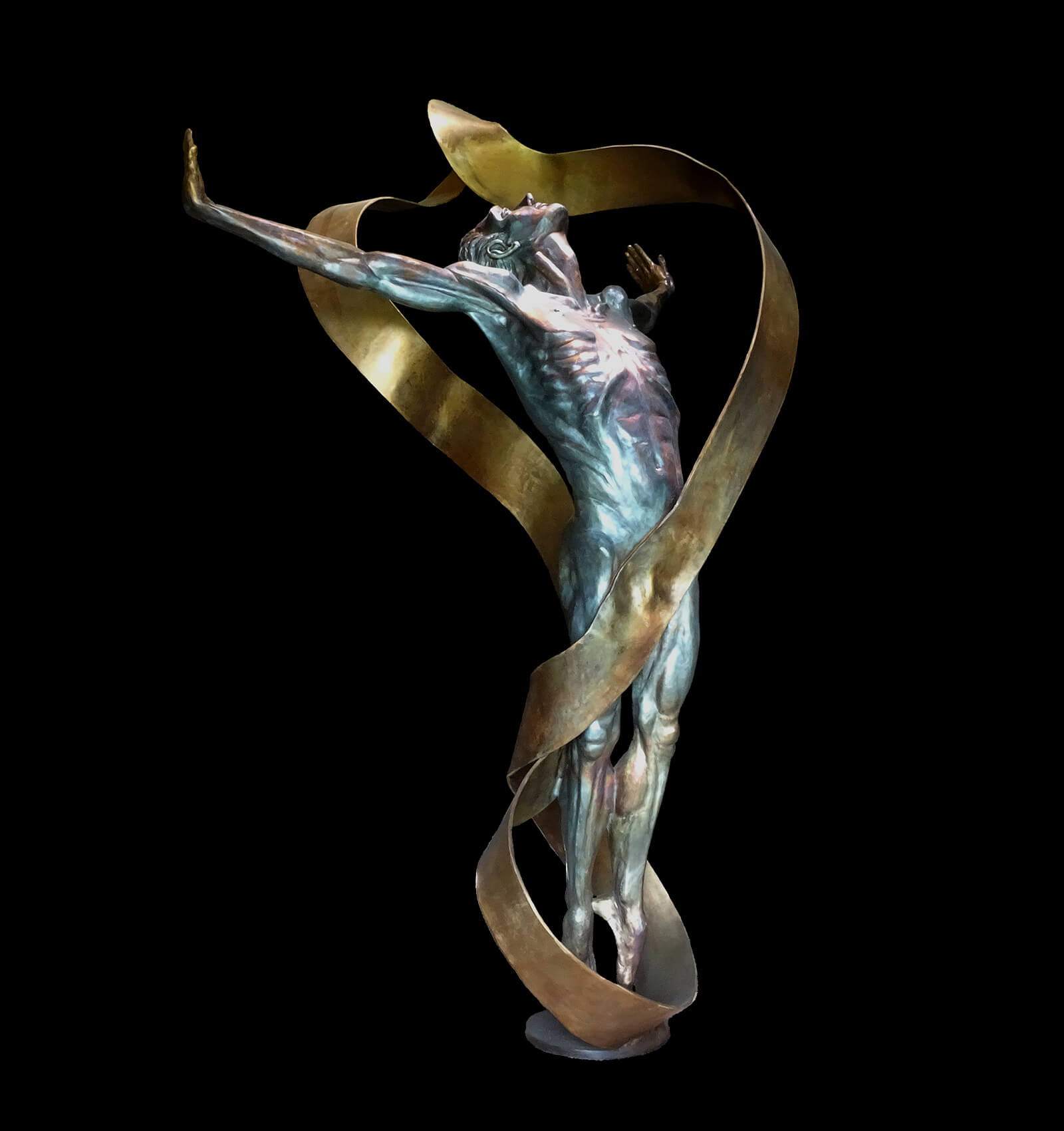Theright side view of the bronze sculpture Echoes by Andrew DeVries copyright 2019.