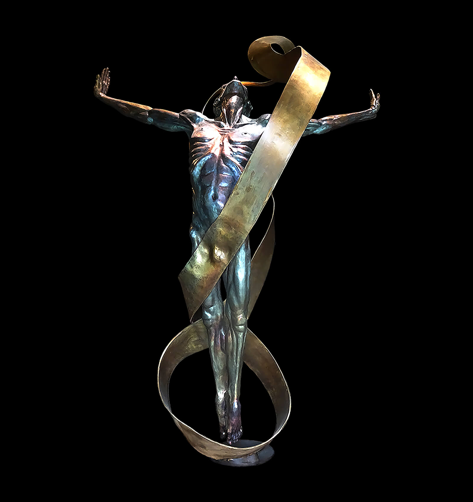 Echoes copyright 2019 , is a large bronze dance sculpture by Andrew DeVries. The dancer is suspended in mid air by a Mobius strip.