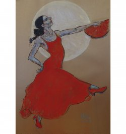 Flamenco Moon is a dance painting of Irene Rodriguez by Andrew DeVries. Copyright 2020