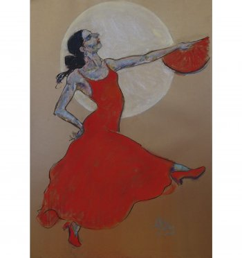Flamenco painting in pastel by Andrew DeVries copyright 2020