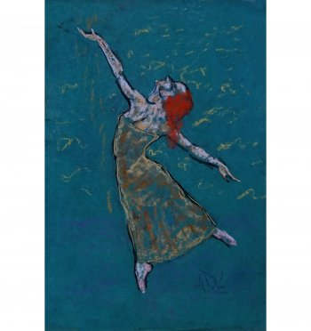 Red Hair is a pastel painting of a ballet dancer on teal paper by Andrew DeVries copy right 2020