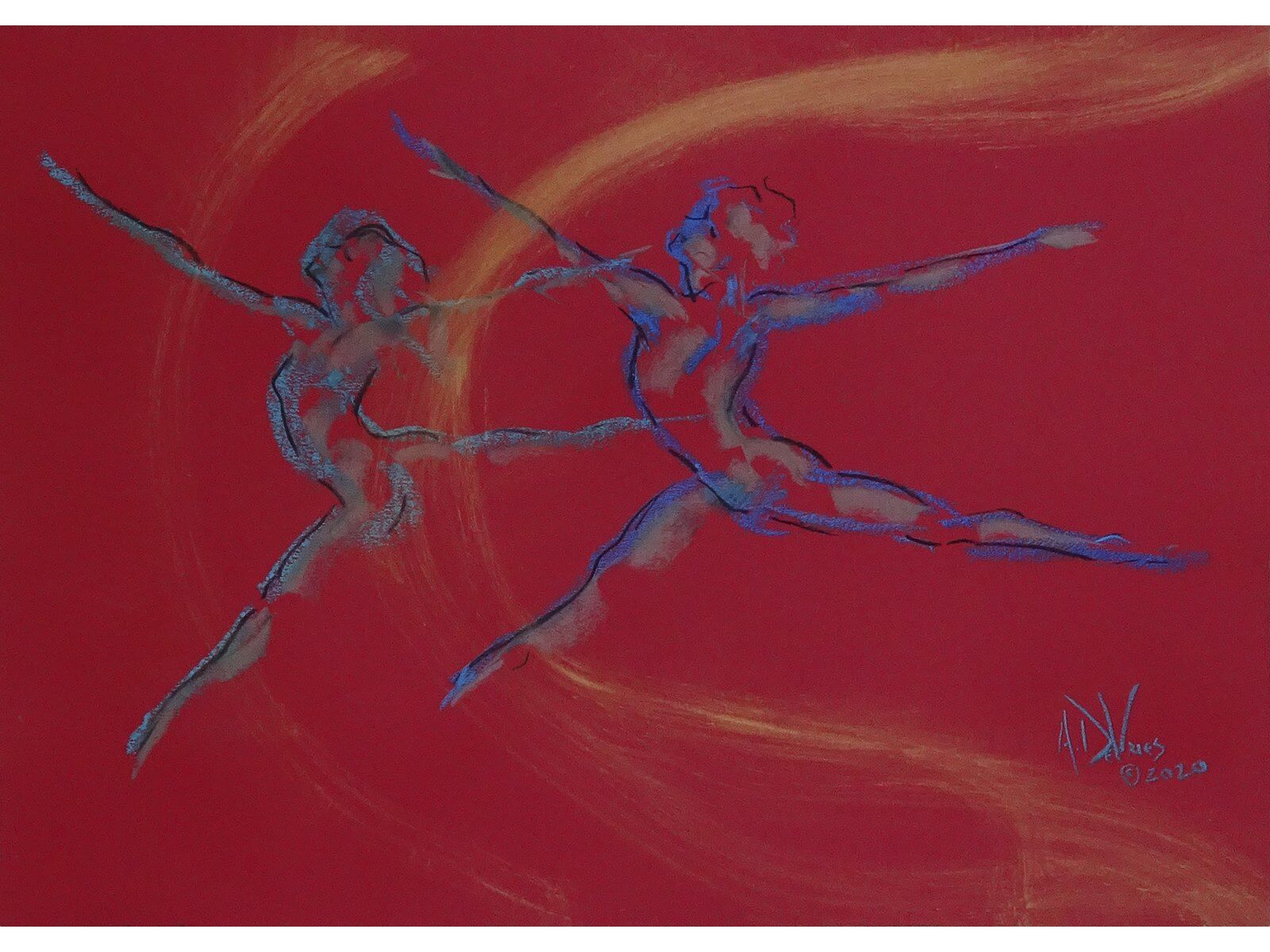 Rehersal in Pittsburgh is a pastel painting taken from a sketch at Pittsburgh Ballet Theatre by Andrew DeVries. Copyright 2020