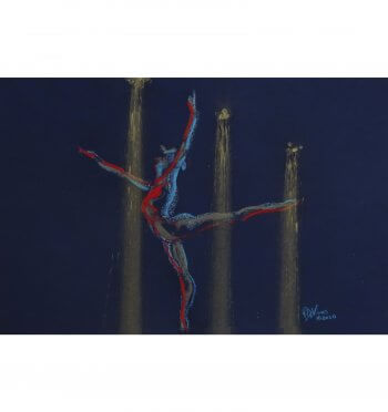 Star Dancer is a pastel painting of a dancer, created from a sketch by Andrew DeVries. Copyright 2020