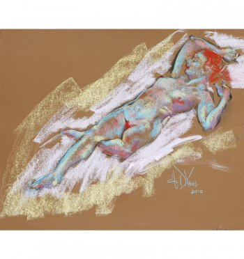 A gentle breeze, a painting of a female nude in pastel by Andrew DeVries. Copyright 2010