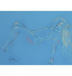 Blue, pink and gold is a painting of a female nude in pastel by Andrew DeVries. Copyright 2008