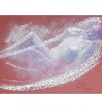 A gentle breeze, a painting of a female nude in pastel by Andrew DeVries. Copyright 2012