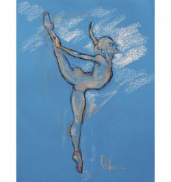 In Flight an original dance painting in pastel by Andrew DeVries. Copyright 2016
