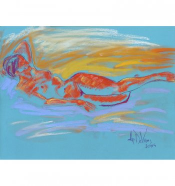Summer Sunset is a female nude painting in pastel by Andrew DeVries. Copyright 2009