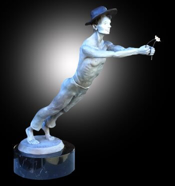 Just for You! a bronze sculpture of a mime holding flowers in his hand. Sculptor Andrew DeVries copyright 2020