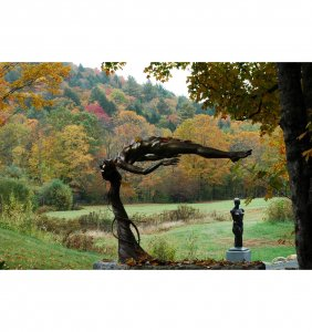 Innocence by sculptor Andrew DeVries in the fall at the sculpture trail, Middlefield, MA.