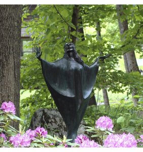 Madonna , a sculpture on the Sculpture Trail createdby Andrew DeVries that you will see on the Sculpture Trail at River Studios in Middlefield, MA.