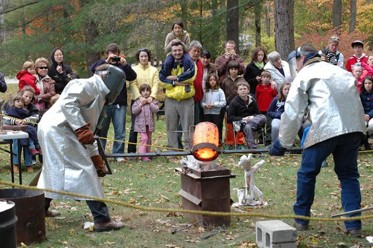 An on site bronze casting demonstration at the Clark Art Institute by sculptor Andrew DeVries in 2010.