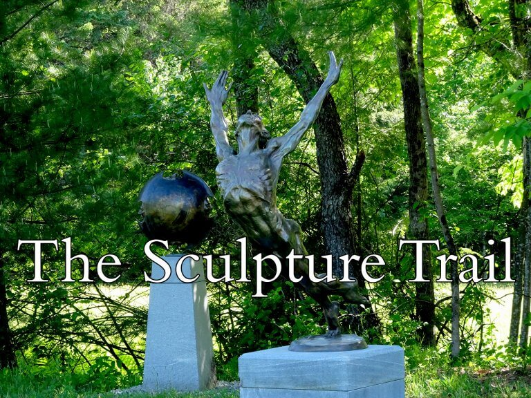 This man who Flies, a sculpture by Andrew DeVries on the Sculpture Trail at River Studios in Middlefield, MA