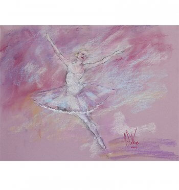 A pastel painting of a dancer in rehearsal at the Phoenix Ballet by Andrew DeVries.