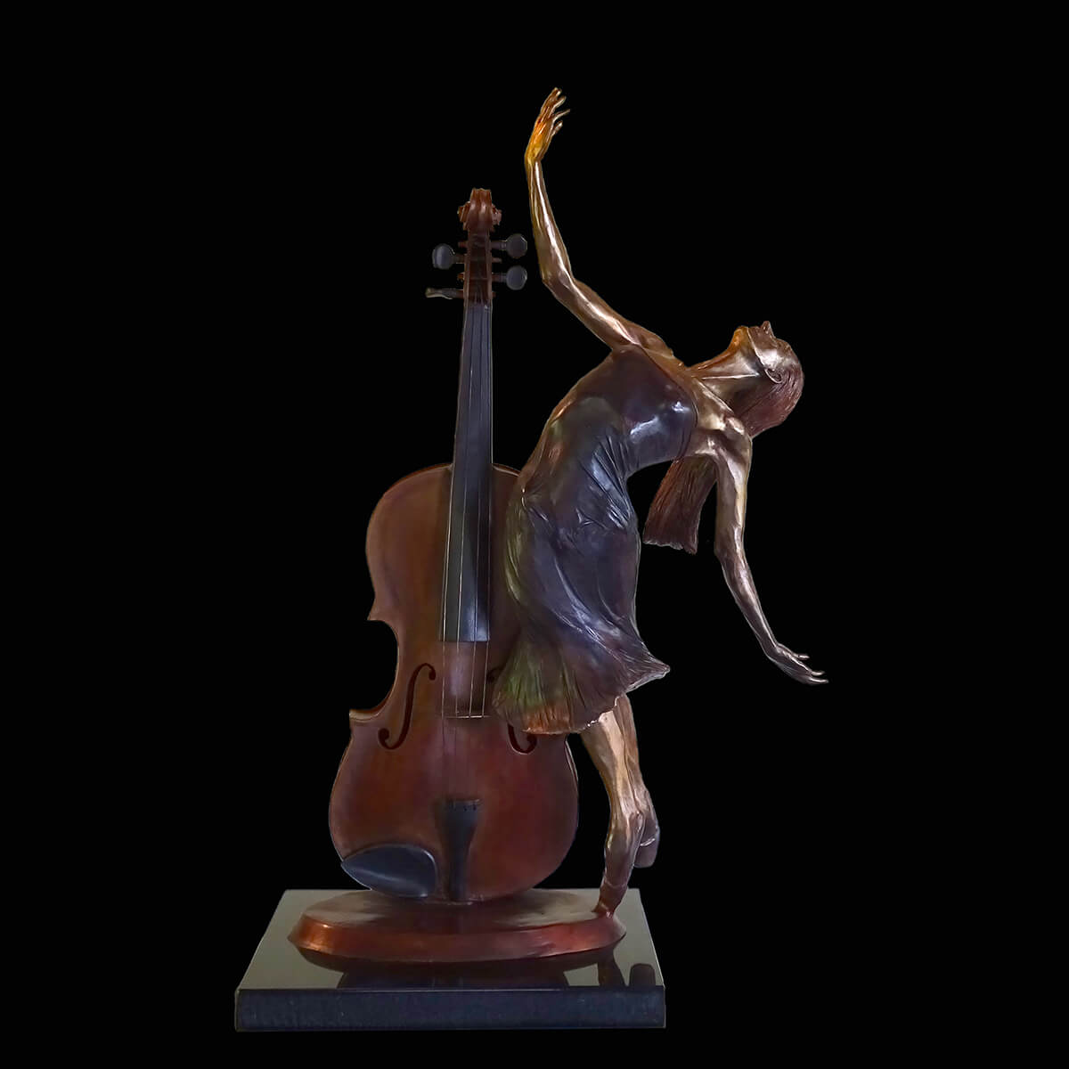 Adagio is a bronze sculpture of a ballerina with a violin by Andrew DeVries, copyright 2020