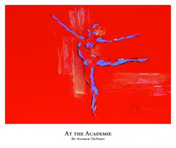 A signed and numbered giclee print of a ballet dancer by Andrew DeVries, copyright 2021 limited edition of 25 with remarque.