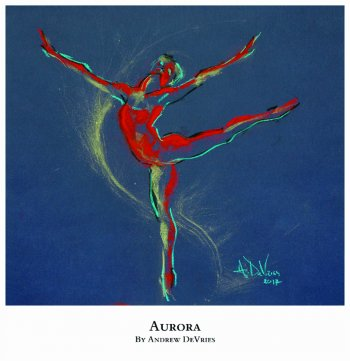A signed and numbered giclee print of a ballet dancer titled Aurora by Andrew DeVries, copyright 2021 limited edition of 25 with remarque.