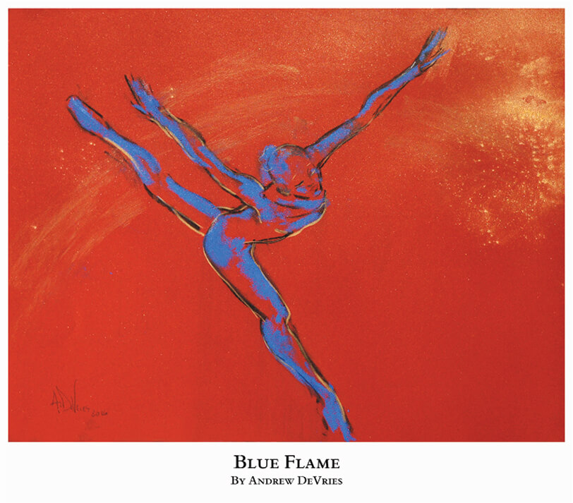 A signed and numbered giclee print of a ballet dancer titled Blue Flame by Andrew DeVries, copyright 2021 limited edition of 25 with remarque.