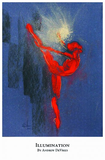 A signed and numbered giclee print of a ballet dancer titled Illumination by Andrew DeVries, copyright 2021 limited edition of 25 with remarque.
