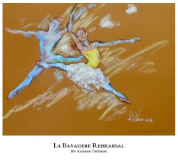 A signed and numbered giclee print of a ballet dancer titled La Bayadere Rehearsal by Andrew DeVries, copyright 2021 limited edition of 25 with remarque.