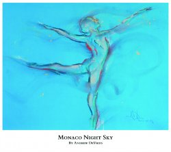A signed and numbered giclee print of a ballet dancer titled Monaco Night Sky by Andrew DeVries, copyright 2021 limited edition of 25 with remarque.