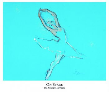 A signed and numbered giclee print of a ballet dancer titled On Stage by Andrew DeVries, copyright 2021 limited edition of 25 with remarque.