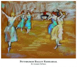 A signed and numbered giclee print of a ballet dancer titled Pittsburgh Ballet Rehearsal by Andrew DeVries, copyright 2021 limited edition of 25 with remarque.