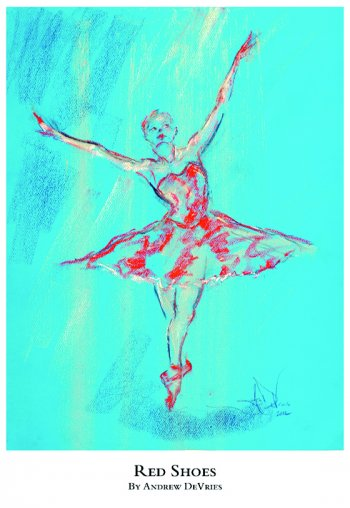 A signed and numbered giclee print of a ballet dancer titled Red Shoes by Andrew DeVries, copyright 2021 limited edition of 25 with remarque.