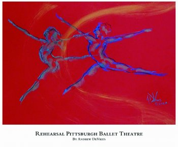 A signed and numbered giclee print of a ballet dancer titled Rehearsal Pittsburgh Ballet Theatre by Andrew DeVries, copyright 2021 limited edition of 25 with remarque.