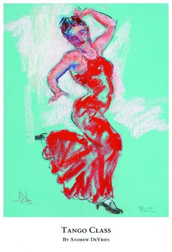 A signed and numbered giclee print of tango dancer titled Tango Class by Andrew DeVries, copyright 2021 limited edition of 25 with remarque.