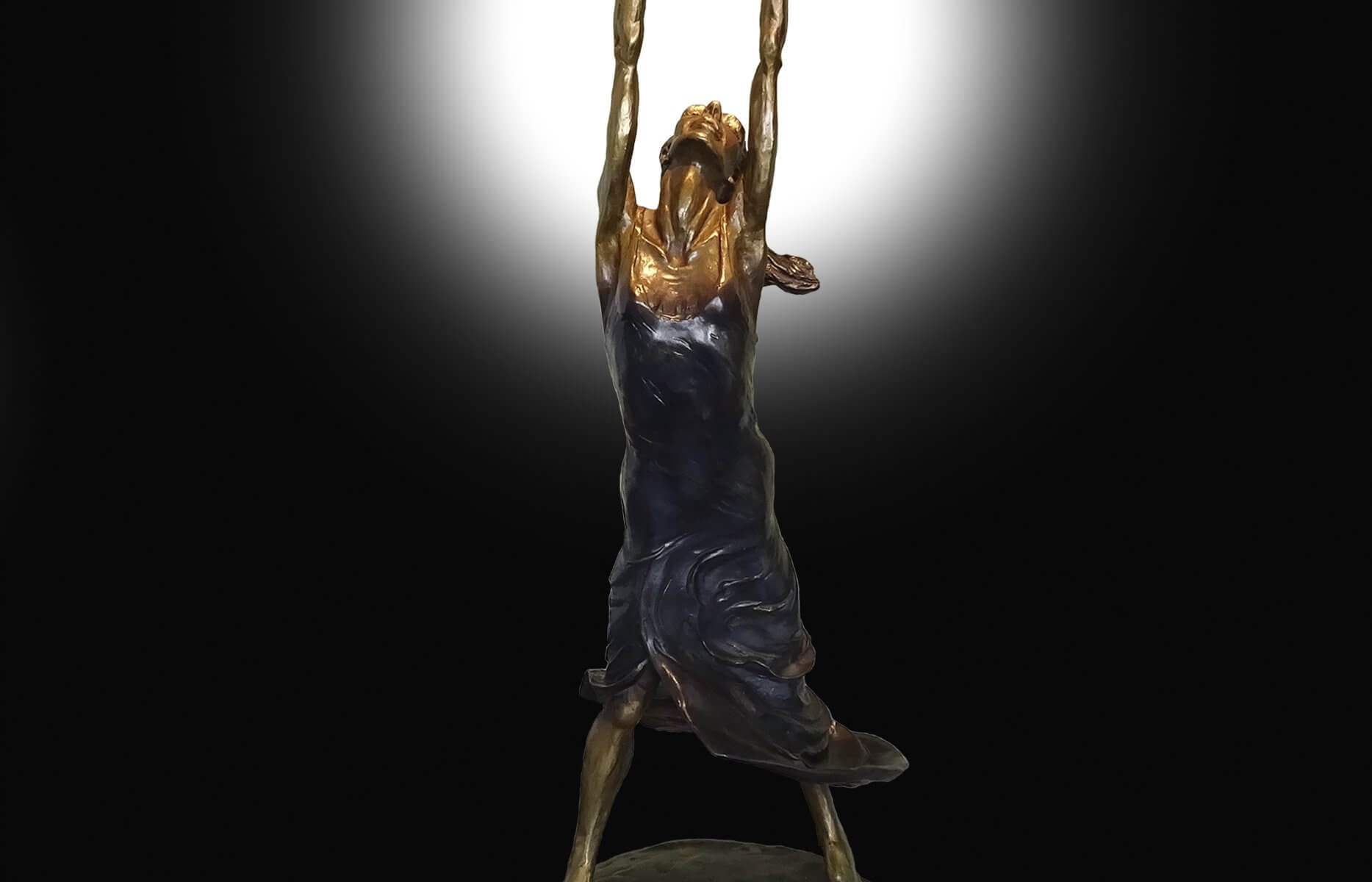 Sound and Fury a bronze sculpture depicting a flamenco dancser by Andrew DeVries. Copyright 2021. Inspired by the flamenco dancer Irene Rodriguez.